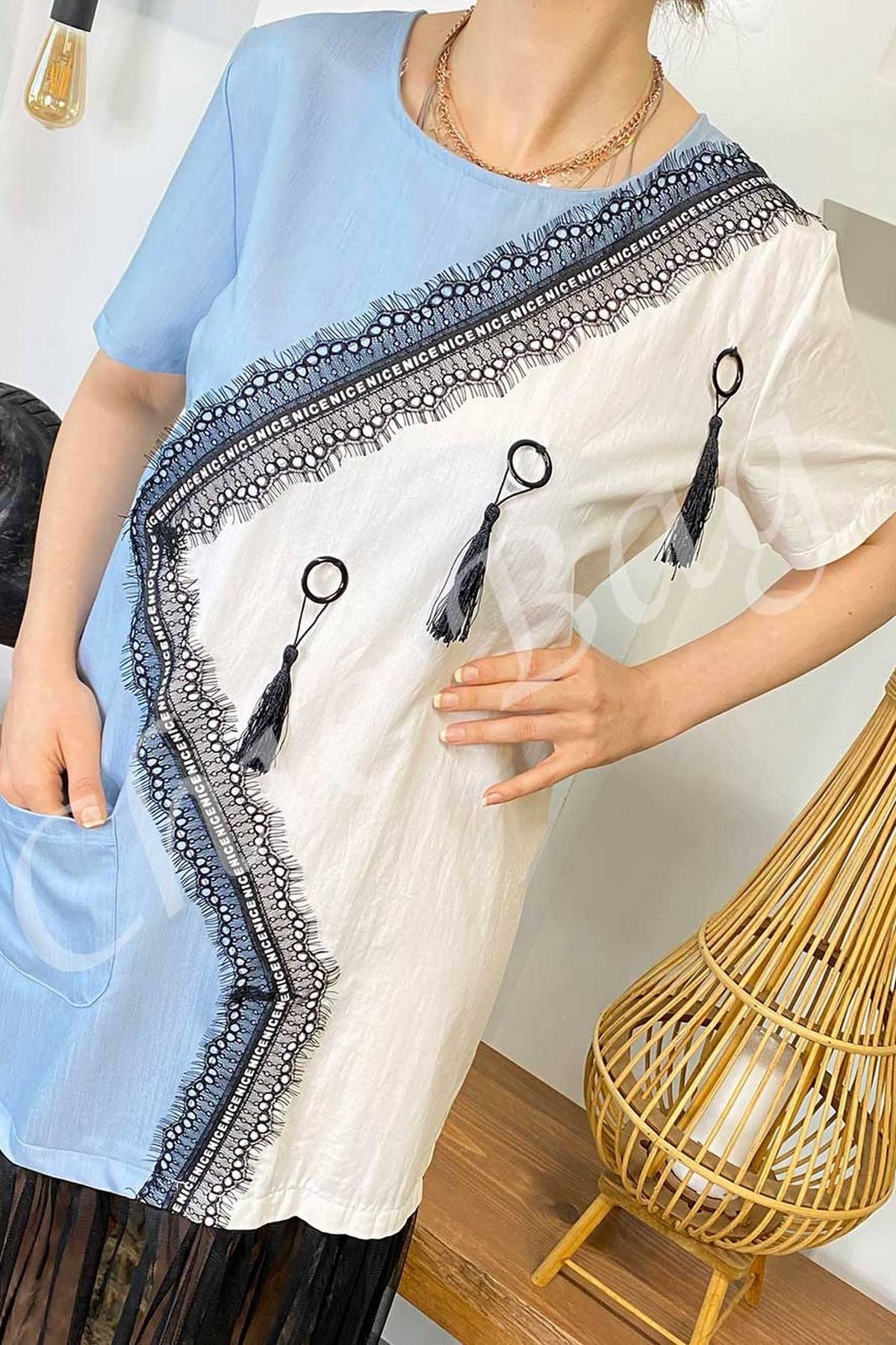 Souchı Etek Ucu Tül İki Renkli Elbise