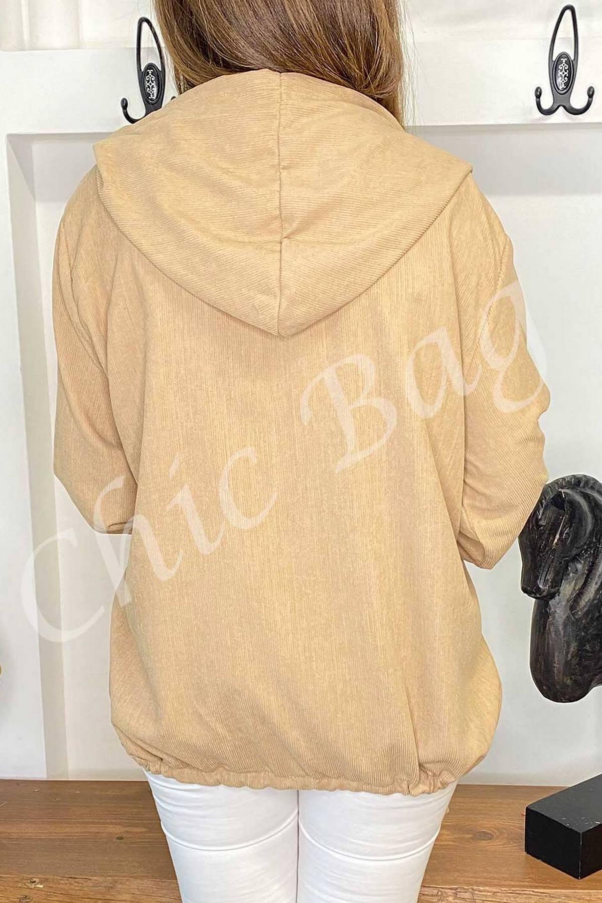 Kadife Kapüşonlu Ceket