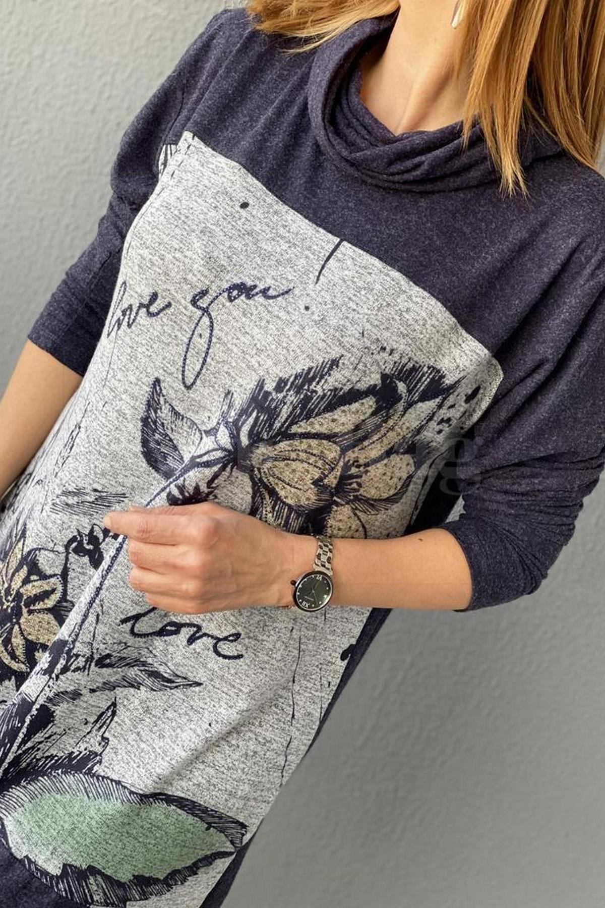 Biemka Çiçek Desenli Taşlı Tunik