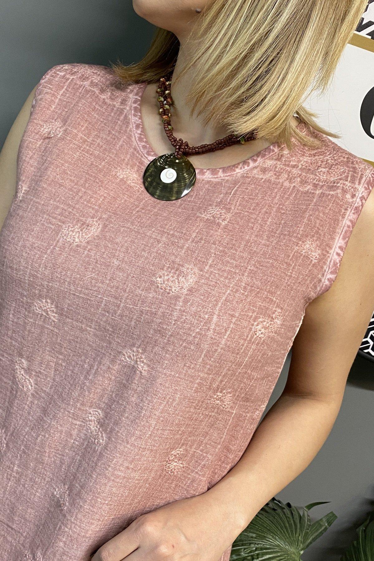 Tona Ton Şal Desen İşleme Sıfır Kol Elbise