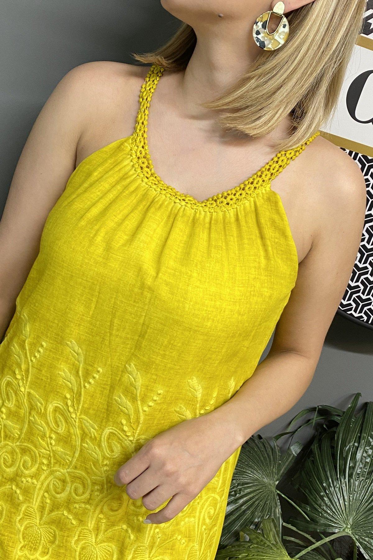 İnce Askılı Çiçekli Etek Ucu Dantel Elbise