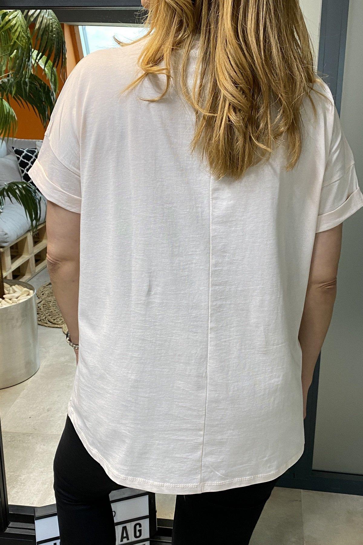 Kaktüs Baskı Üstüne Boncuk Taş İşleme Tshirt