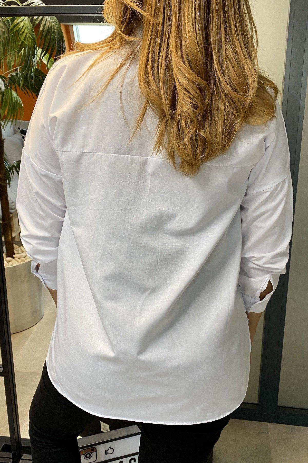 Sol Üstü Ve Sağ Alt Eteği Yazılı Oversize Gömlek