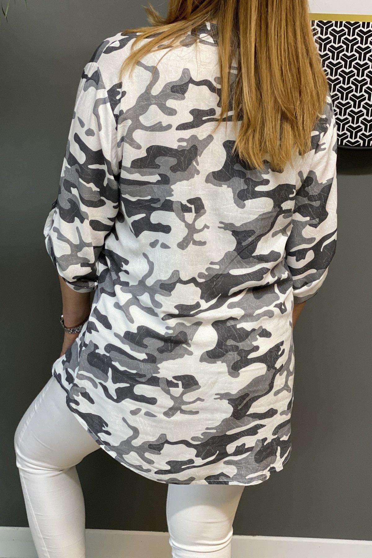 Kamuflaj Desenli Cepleri Payetli Arkası Uzun Gömlek