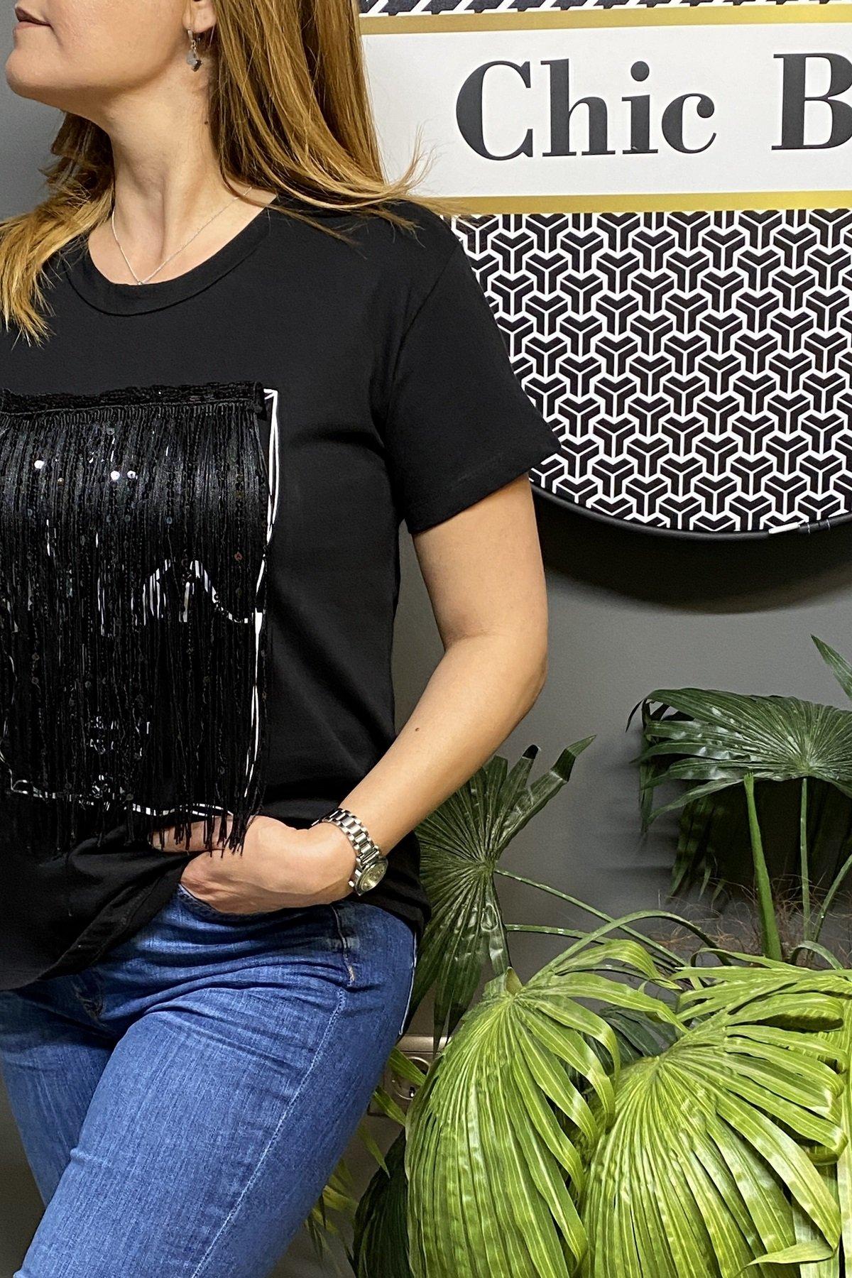 V Yaka Cebi Tül Ve Payet Detaylı Tshirt