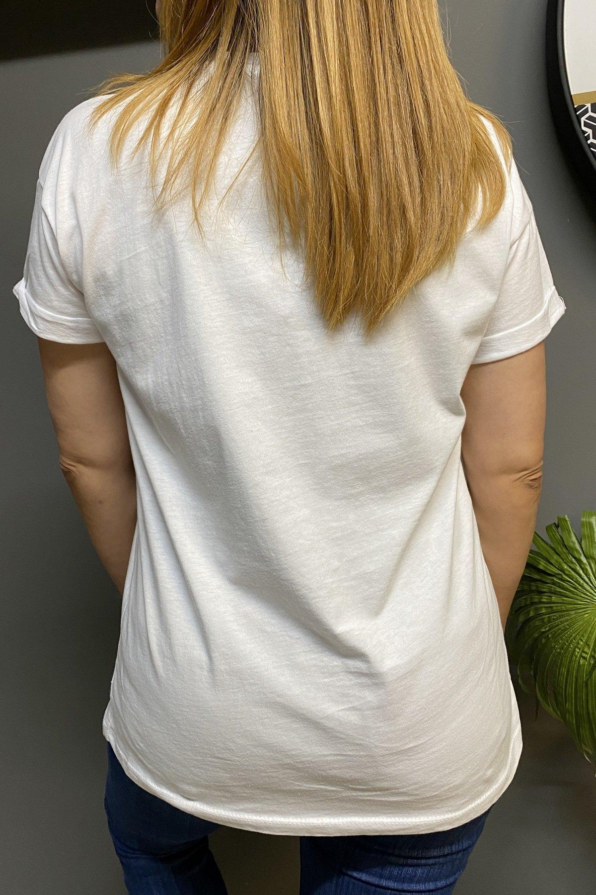 Sıfır Yaka Önü G Taşlı Kenarları Fransızca Yazılı Tshirt