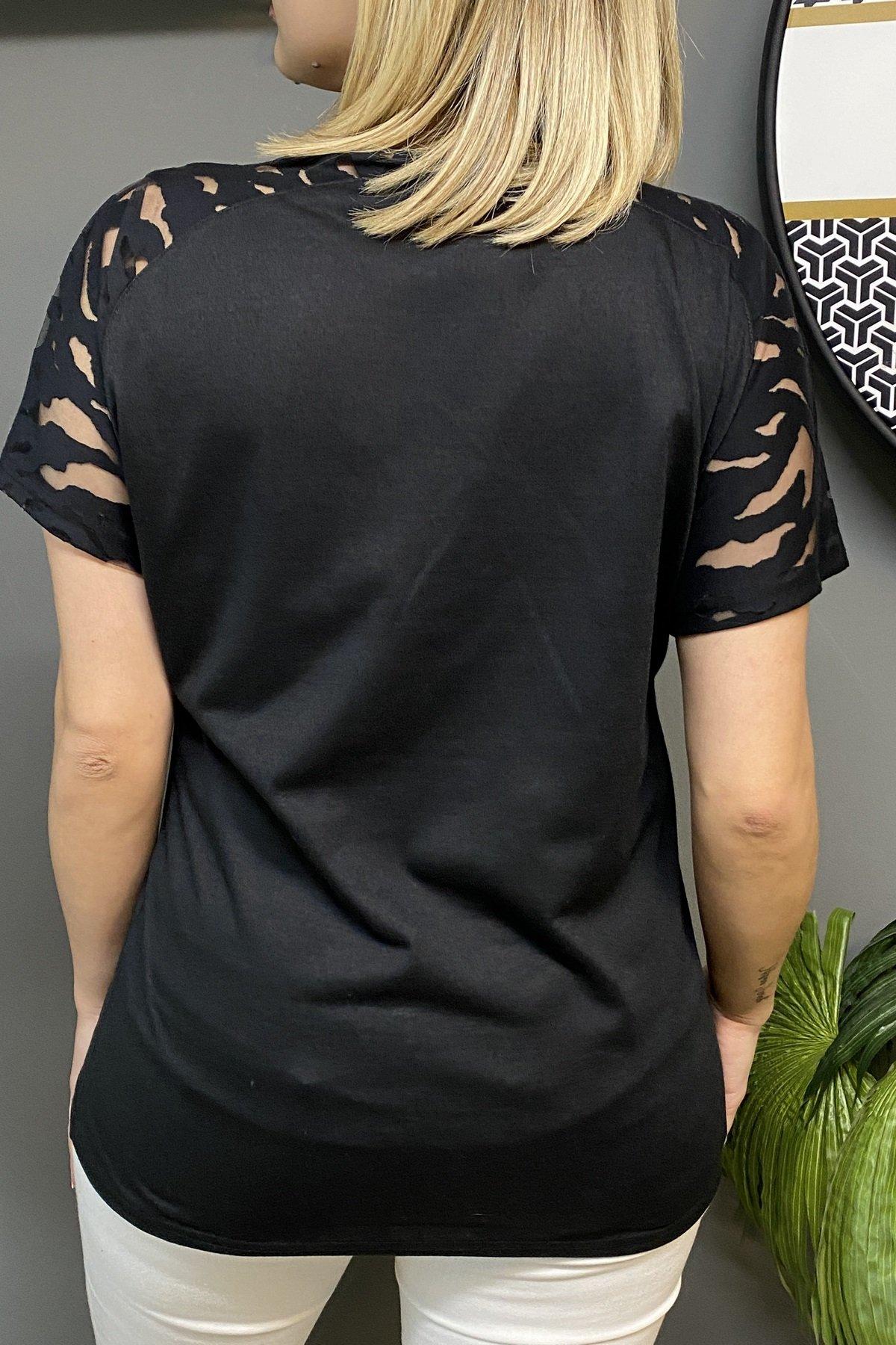Kol Üstü Tül Göğüs Üstü Taşlı Dart Desenli Bluz