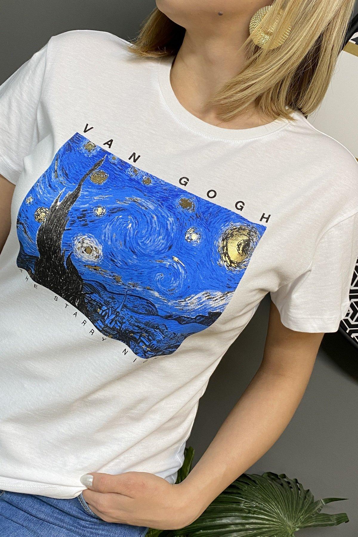 Van Gogh Yıldızlı Gece Baskılı T Shırt