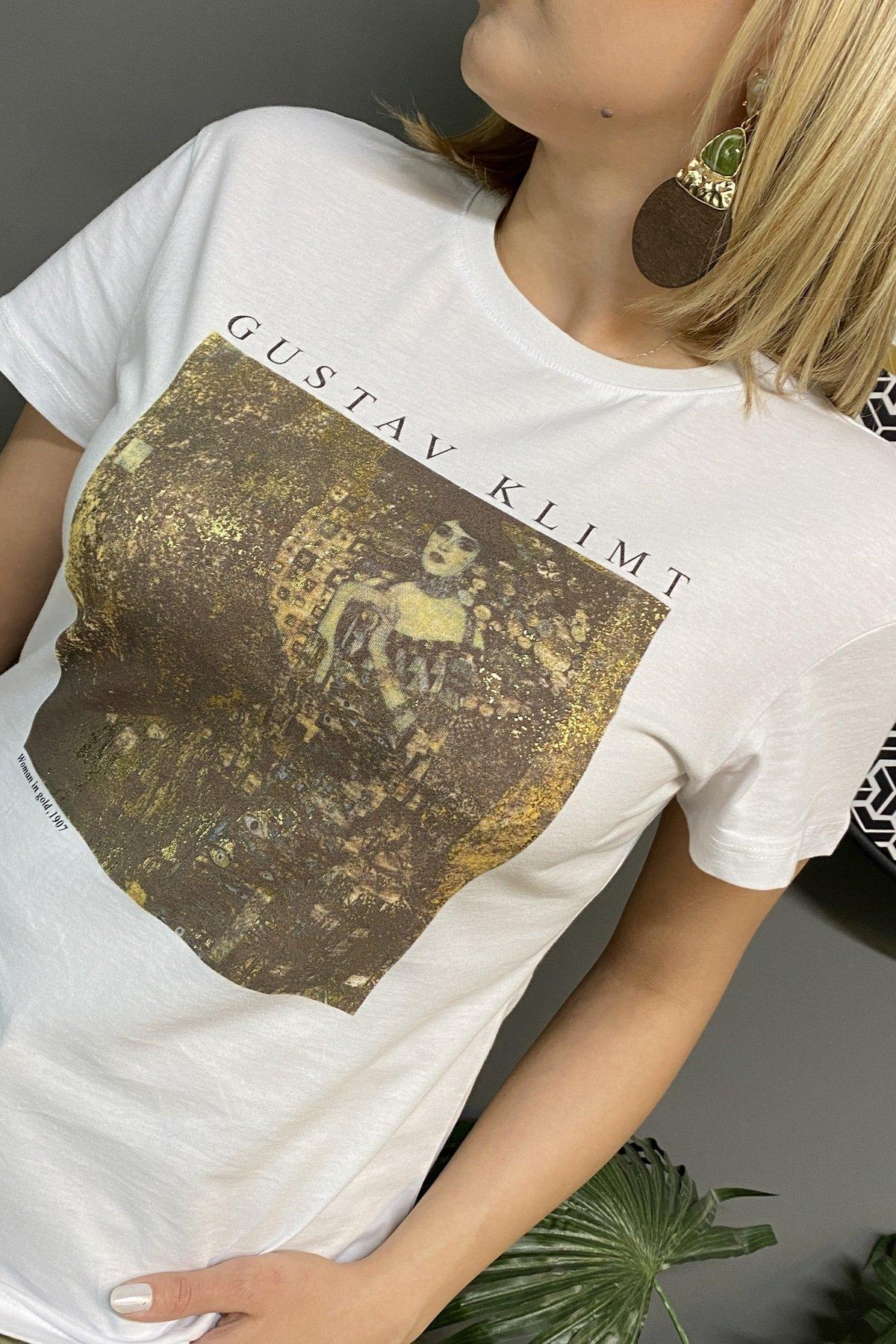 Gustav Klimt Altınlı Kadın Baskılı T Shırt