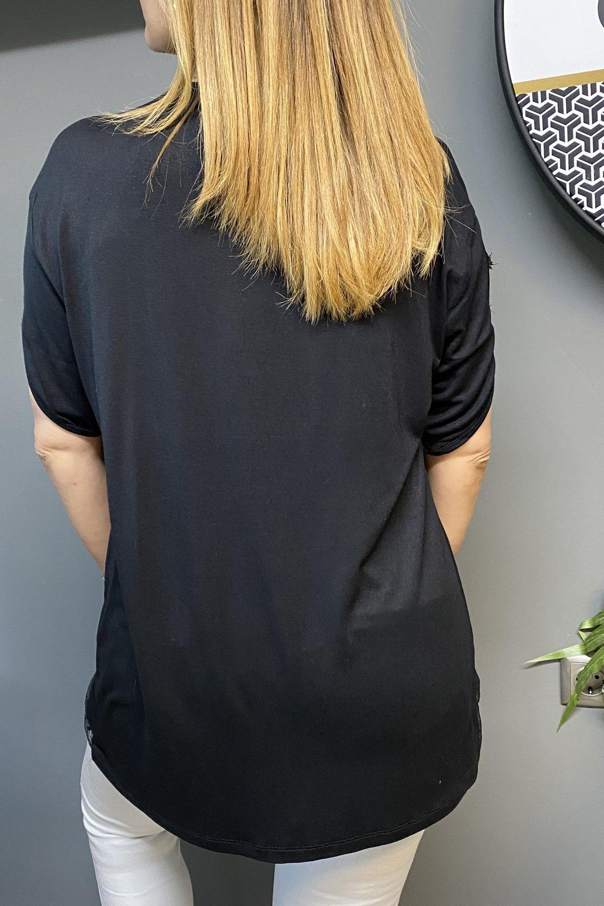 Omuz Dekolteli Yakası Ve Eteği Tül Sağ Göğüs Üstü Taş Yaprak Detaylı Bluz