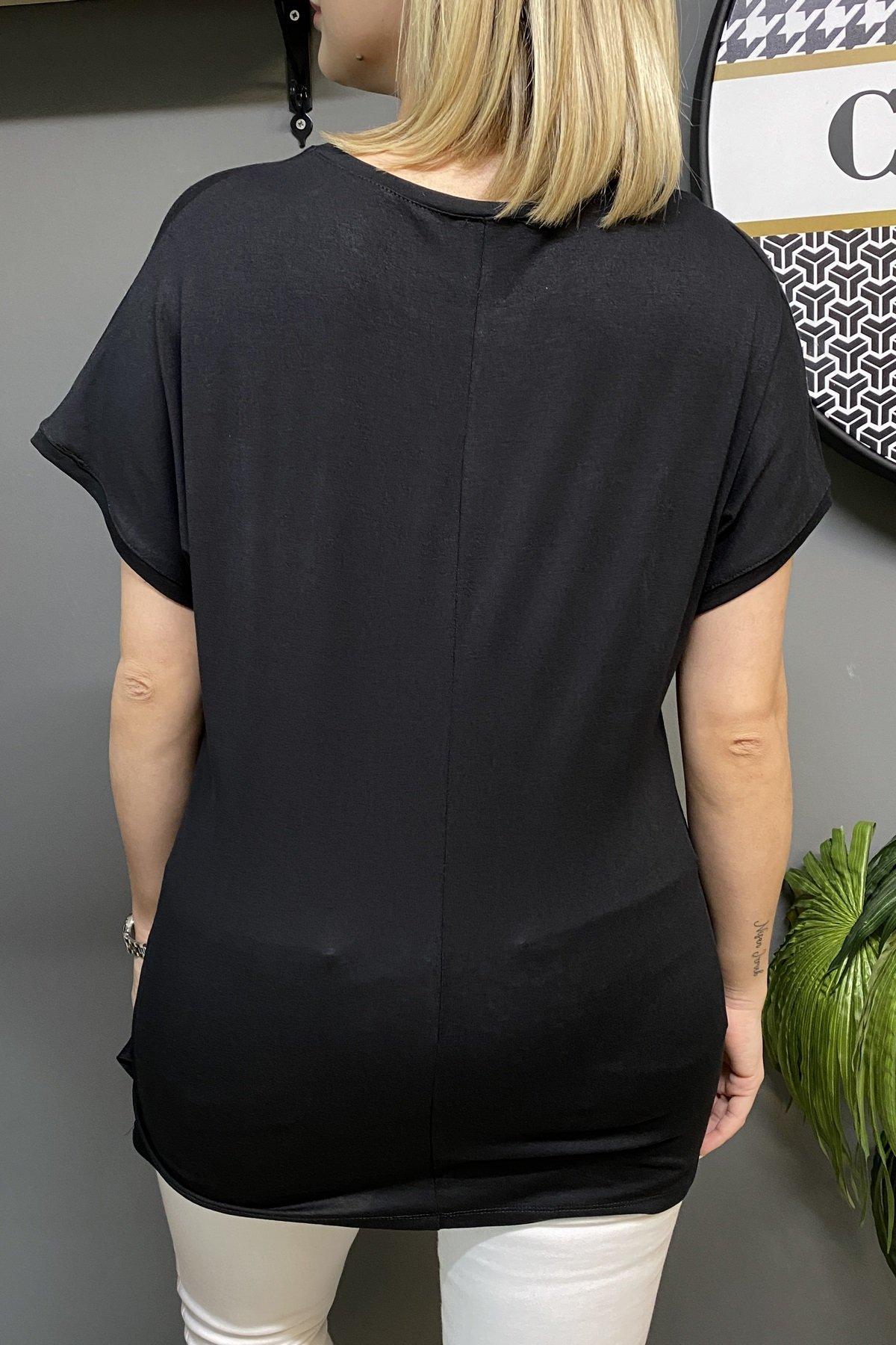 Göğüs Üstü Şerit Tül Ve Taş Detaylı Düşük Kol Bluz