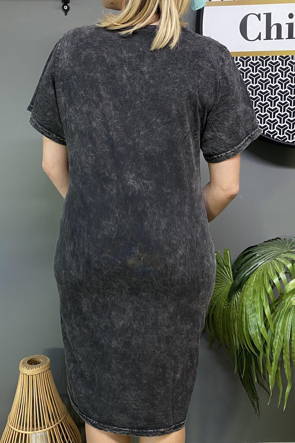 Sol Göğüs Üstü Payetli Omuz Üstü Taş Ve Boncuk  Çift Cepli Cep Üstü Boncuk Yuvarlak Yaka Elbise