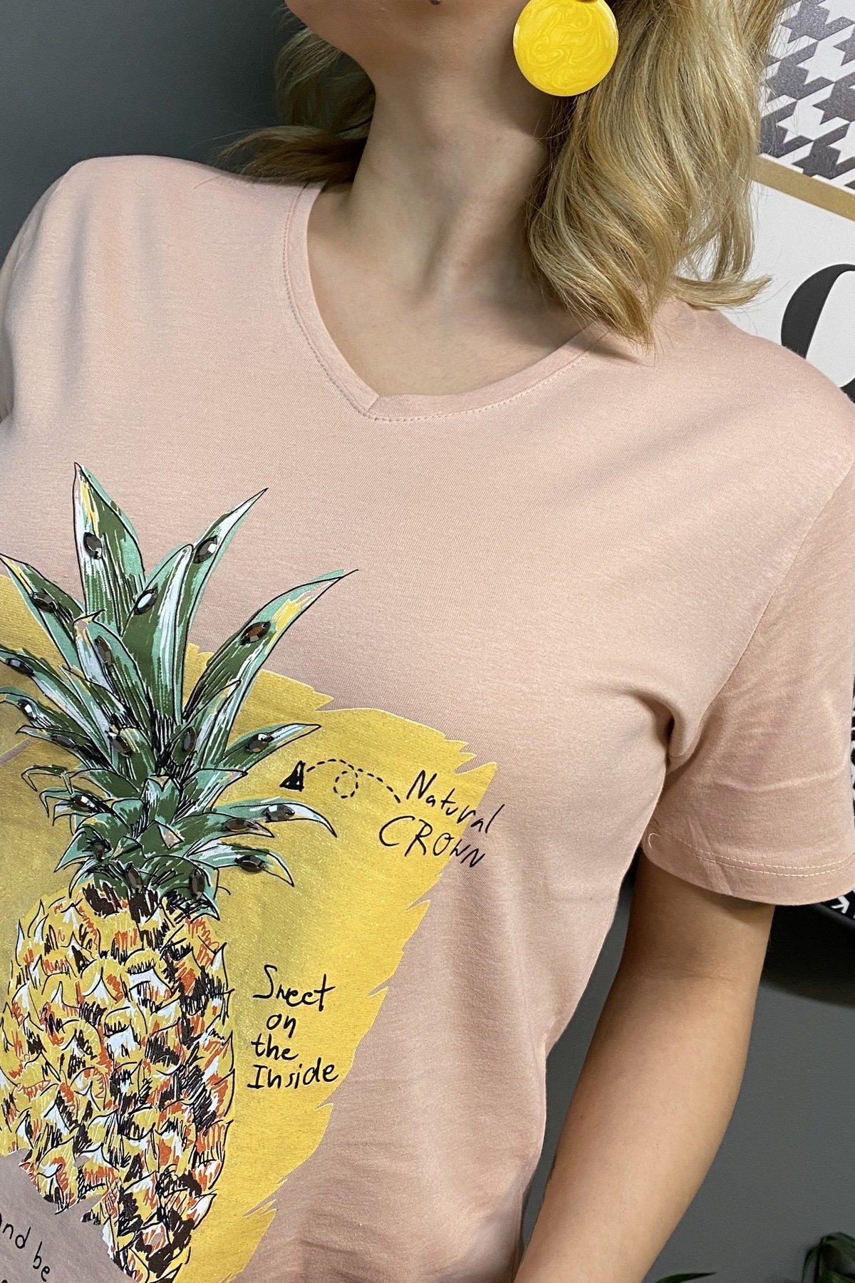 Ananas Baskılı V Yaka T Shırt