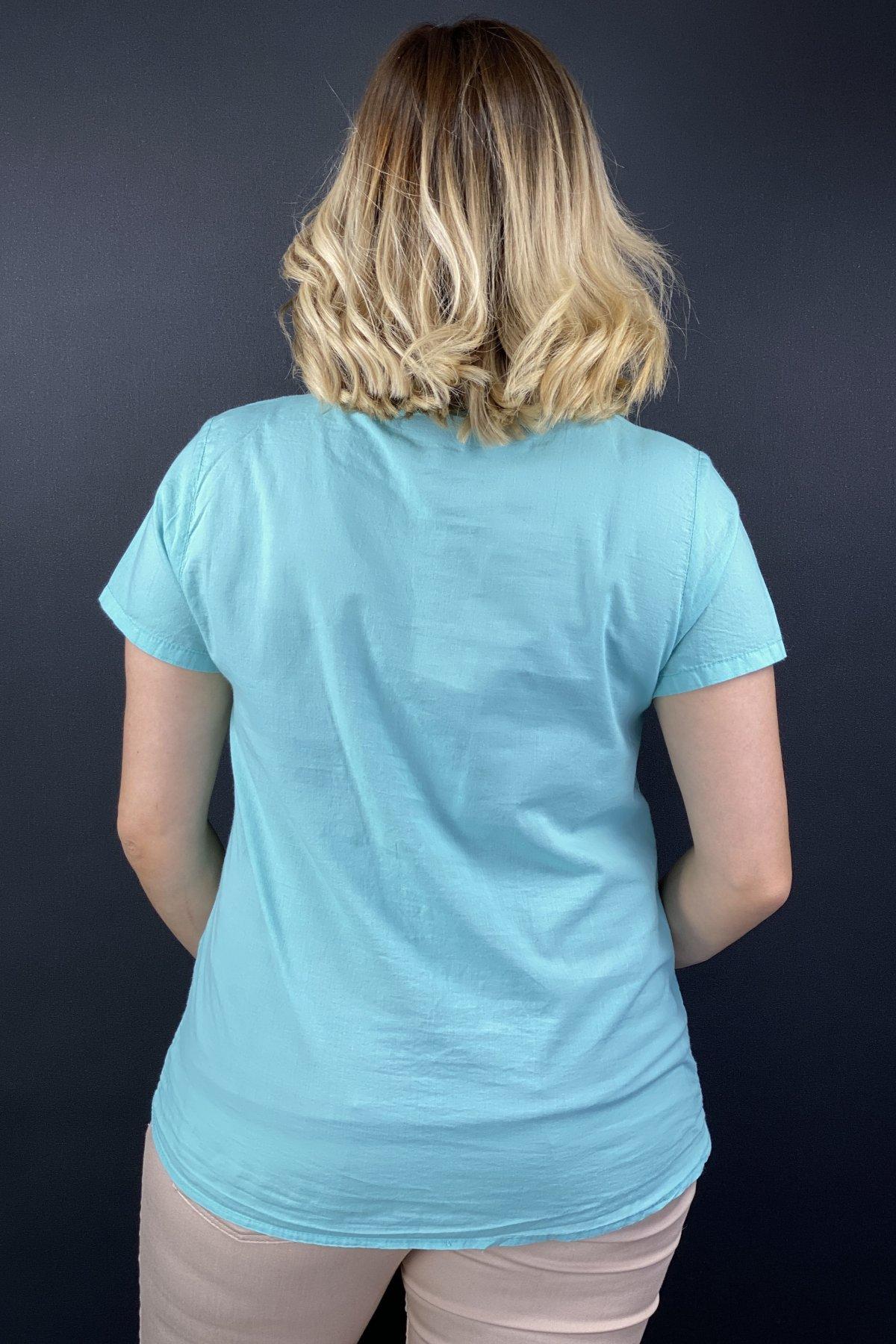 File İşlemeli Kısa Kollu Gömlek