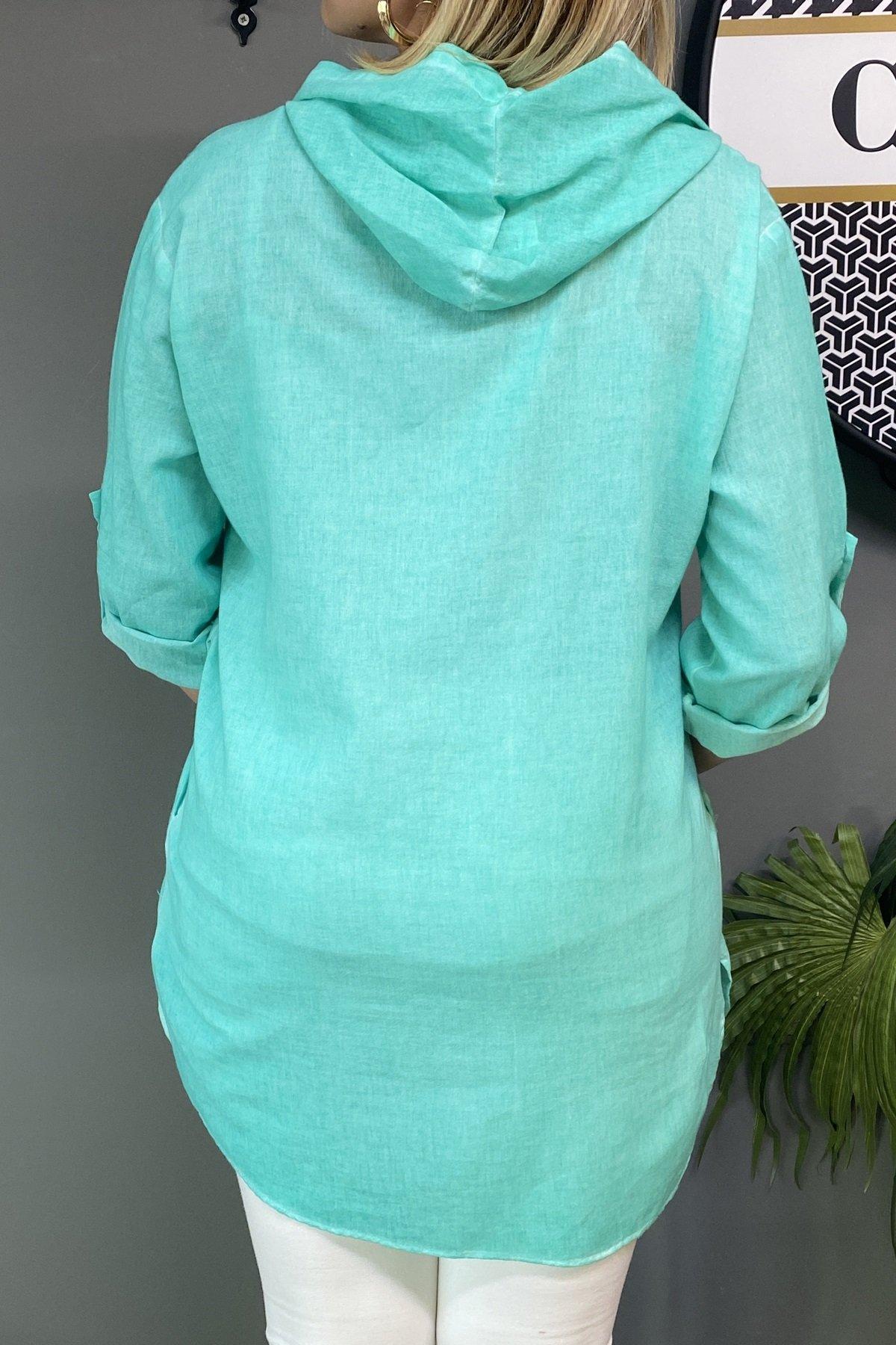 Kapüşonlu Göğüs Üstü Çift Cepli Yanları Gizli Cep Detaylı Bluz