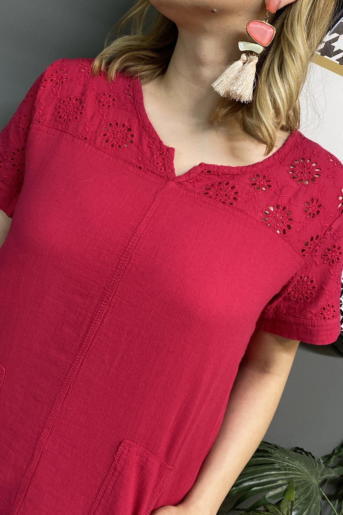 Göğüs Üstü Ve Arkası Fisto Dantel Çift Cepli Etek Ucu Fisto Elbise