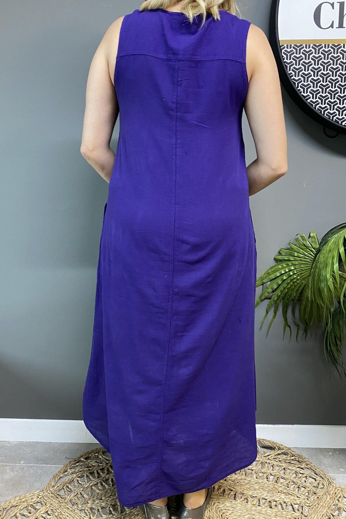 Papatyalı Kolsuz Eteği Oval Elbise