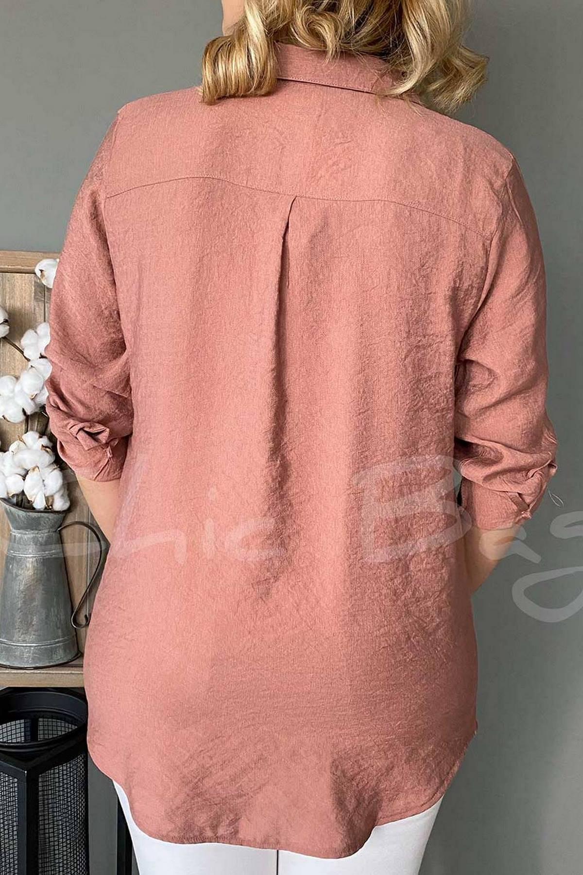Yakası Ve Cebi Çiçek Boncuk İşlemeli Gömlek