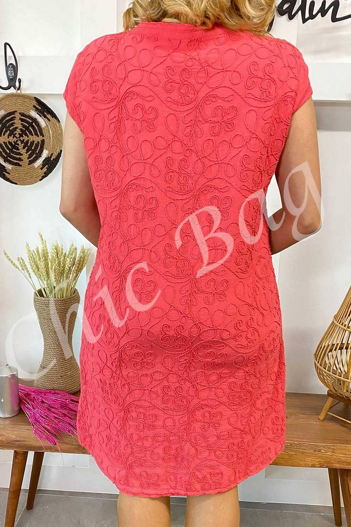Tona Ton İp İşleme Kolsuz Elbise