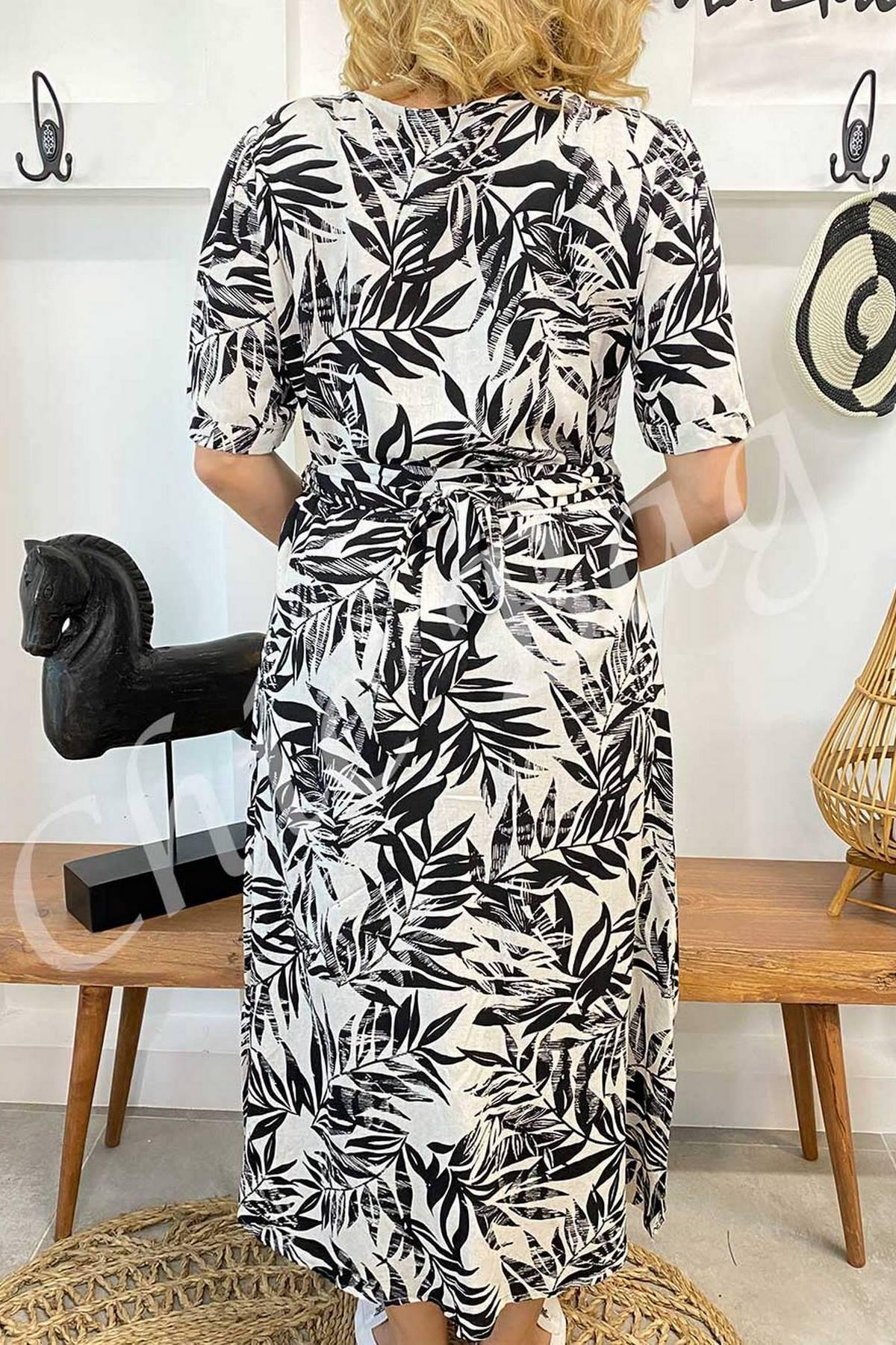 Yaprak Desenli Önü Düğmeli Kuşaklı Elbise